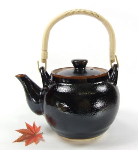 Tea Pot - Japanese Quality black with brown trim